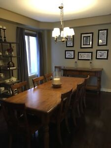 Pottery Barn Dining table with 8 chairs and buffet