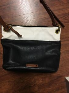 Black, white and tan leather fossil purse -mint condition