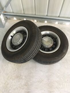 2x 12 Slot 14inch Rims with light truck tyres
