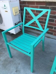 Blue Metal Patio Chairs with weather cover