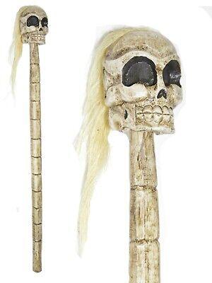 SKULL HAIR MONSTER MASK BONES SCARY BLOOD WALKING DEAD CANE STAFF ZOMBIE STICK