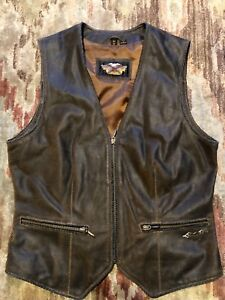 "HARLEY DAVIDSON ""BILLINGS BUTTE"" DISTRESSED BROWN LEATHER VEST"