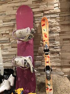 Skis, bottes et snowboard pour enfants