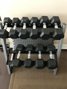 Exercise dumbbell weights with rack  $375