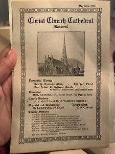 Montreal- Christ Church Cathedral - 1913 (bulletin d'église)