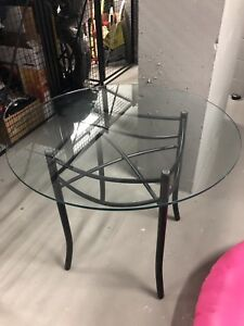 Beautiful glass and metal dining table