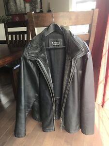 Manteau de cuir véritable XL