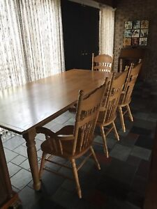 Solid Oak Harvest Table + 10 solid oak dining chairs