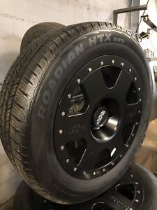 """20"""" black rock wheels and new 275/55/20 take off tiress"""