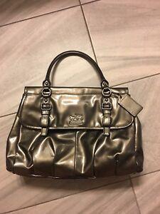 Coach bronze patent leather purse