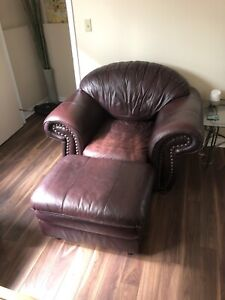 Matching, Genuine Leather Couch, Chair and Ottoman