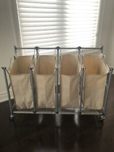 Laundry hamper with 4 compartments