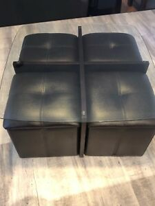 Coffee Table with Storage Ottomans