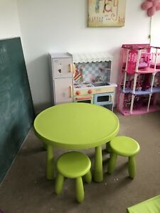 Kids table/chairs and Mastermind play kitchen