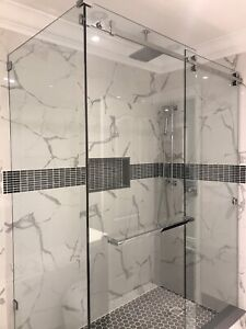 FRAMELESS SHOWER GLASS DOORS ENCLOSURES BATHTUB MIRRORS RAILING