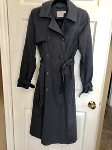 Long Navy Trench Coat Size US 4 (Small)