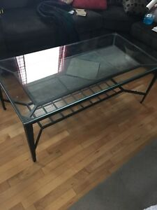 Glass top coffee table and end tables