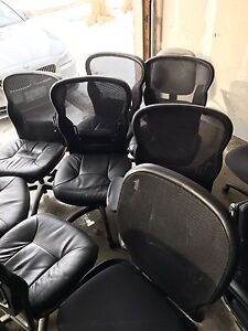 Lots of black leather chairs!