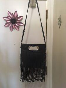 Black leather fringed purse