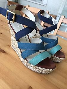 Teal and Blue Wedge Sandals - Lauren Conrad