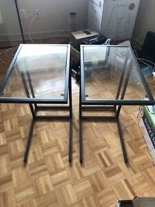 2 ikea glass side tables