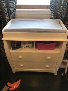 White Newborn Change  Changing Table with Drawers & Pad
