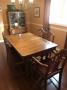 Antique solid wood table with 6 chairs