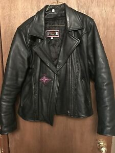 Purple Harley Davidson crest on black leather jacket
