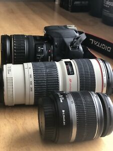 Canon T1i with 3 lenses & 2 memory cards! DSLR CAMERA