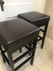 "NEW PRICE - 2 x 30"" Tall Bar Stools Brown & Black"