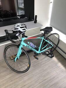54cm specializes bike w helmet/glove/seat pack/stand