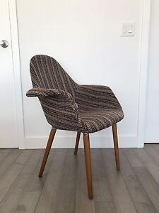 Designer Upholstered Fabric Arm Shell Chair