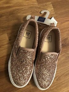 Girls pink sparkly slip on sneakers