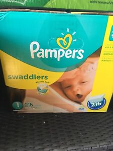 Pampers size 1 swaddlers 216 count