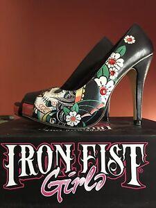 Iron Fist Sugar Skull Platform Shoe Sz 8