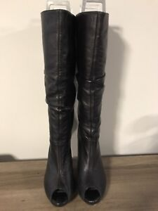 Open toe knee high leather boots