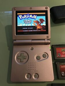 GBA SP AGS-101 Gameboy advance with Pokemon fire red