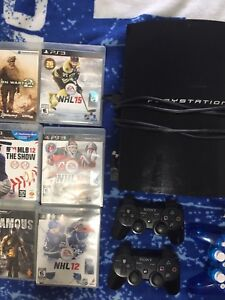 PS3 with 6 games & 3 controllers