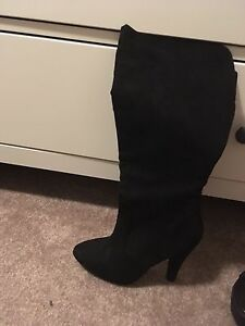 Forever 21 tall heeled suede boots size 5.5