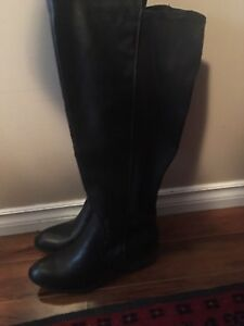 Womens Tall High Knee Black Leather Boots