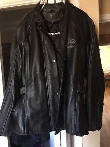 Women's leather motorcycle jacket