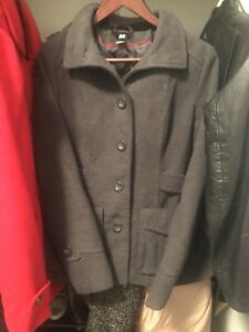 Women's Grey Peacoat Winter size 8