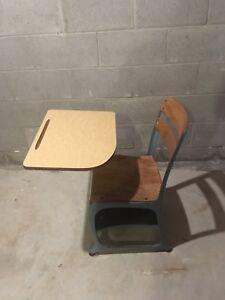Blue vintage school desk