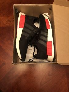 ADIDAS NMD R1 BLACK/RED/WHITE SIZE:8.5 MENS