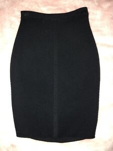 Black Ribbed Pencil Skirt | Size XS