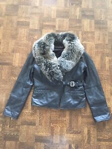 Women's leather and silver fox fur jacket