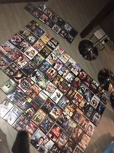 100 DVDs, bluerays of movies and series