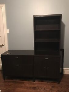 Pressed wood file cabinet and matching bookshelf with storage.