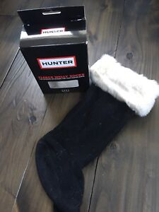Hunter black boot socks with white faux fur trim - BNIB