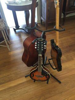 3 guitars; Fender mandolin, Electric Tele Copy, Cort acoustic
